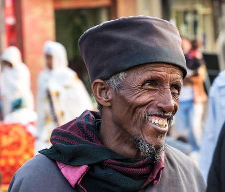 Addis Ababa, Ethiopia - Feb 04, 2020: Ethiopian Orthodox people at Miskaye Hizunan Medhanealem church in Addis Ababa Ethiopia in Africa Stockfoto - 143146569