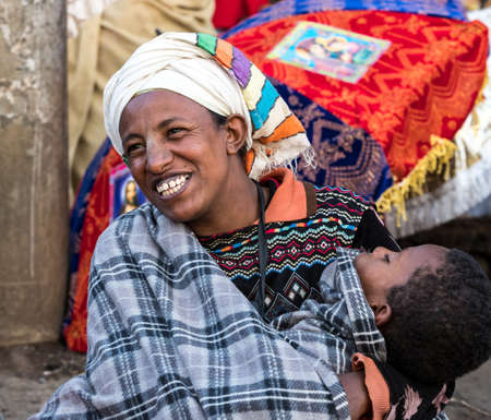 Addis Ababa, Ethiopia - Feb 04, 2020: Ethiopian Orthodox people at Miskaye Hizunan Medhanealem church in Addis Ababa Ethiopia in Africa Stockfoto - 143146570