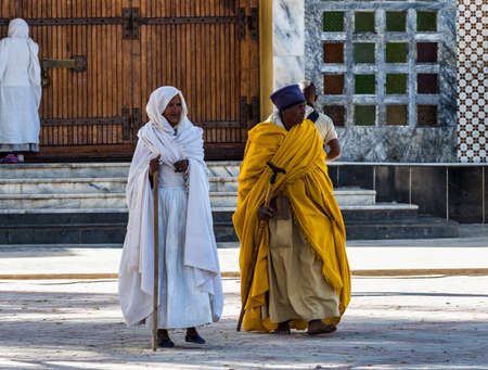 Aksum, Ethiopia - Feb 09, 2020: Ethiopian People at Church of Our Lady St. Mary of Zion, the most sacred place for all Orthodox Ethiopians in Axum, Ethiopia. Stockfoto - 143146578