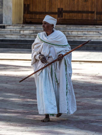Aksum, Ethiopia - Feb 09, 2020: Ethiopian People at Church of Our Lady St. Mary of Zion, the most sacred place for all Orthodox Ethiopians in Axum, Ethiopia. Stockfoto - 143146581