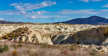 The Badlands of Abanilla and Mahoya near Murcia in Spain. An area where a lunar landscape has been formed by the erosive force of water over the millennia. Stockfoto - 143486663
