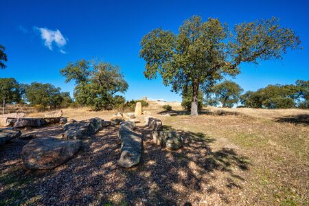 Dolmen of Lacara, funeral chamber. Ancient megalithic building near La Nava de Santiago, Extremadura. Spain Stock Photo