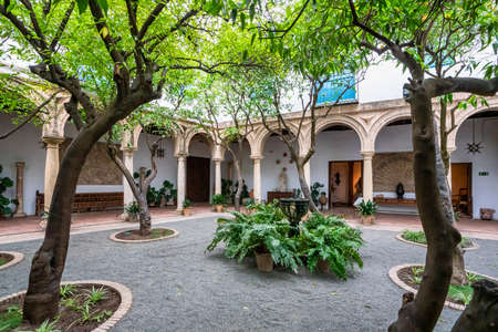 Cordoba, Spain - November 03, 2019: Courtyard garden of Viana Palace in Cordoba, Andalusia. Built in XV century. Viana Palace is a tourist attraction known for its 12 magnificent patios and gardens.