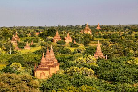 Pagodas and temples of Bagan in Myanmar, formerly Burma, a world heritage site.