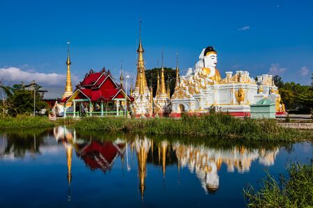 Padogas of Buddhist monastery, Inle lake, Shan state of Myanmar former Burma in Asia