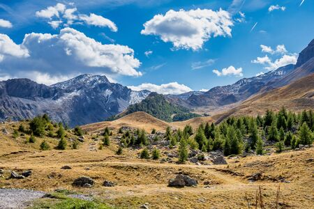 Alpine landscape of the French alps, Col de Vars in the Mercantour National park, Provence Alpes, France.