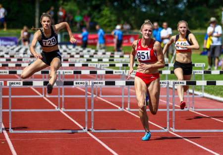 Regensburg, Germany - July 20, 2019: bavarian athletics championship hurdle race event