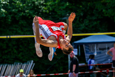 Regensburg, Germany - July 20, 2019: bavarian athletics championship high jump event Stockfoto - 146911728