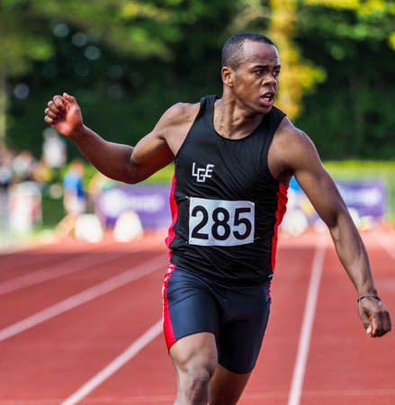 Regensburg, Germany - July 20, 2019: bavarian athletics championship 400 meter race event Stockfoto - 146911731