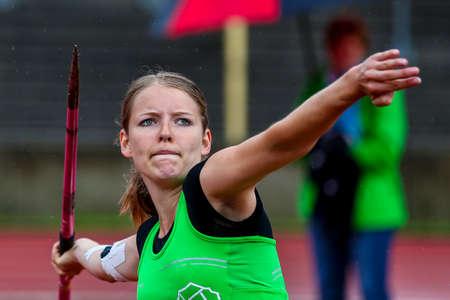 Regensburg, Germany - July 20, 2019: bavarian athletics championship javelin throw event Stockfoto - 146911734