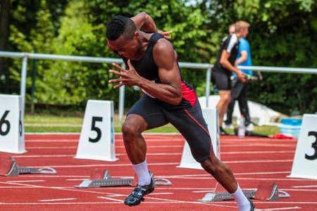 Regensburg, Germany - July 20, 2019: bavarian athletics championship 400 meter race event Stockfoto - 146911735