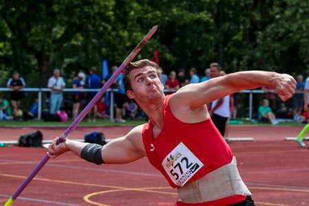 Regensburg, Germany - July 20, 2019: bavarian athletics championship javelin throw event Stockfoto - 146911739