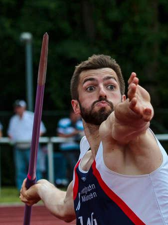 Regensburg, Germany - July 20, 2019: bavarian athletics championship javelin throw event Stockfoto - 146911740