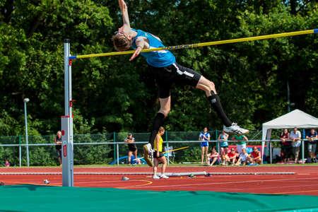 Regensburg, Germany - July 20, 2019: bavarian athletics championship high jump event Stockfoto - 146911742
