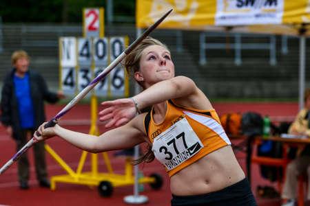 Regensburg, Germany - July 20, 2019: bavarian athletics championship javelin throw event Stockfoto - 146911748