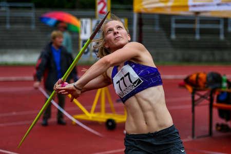 Regensburg, Germany - July 20, 2019: bavarian athletics championship javelin throw event Stockfoto - 146911749
