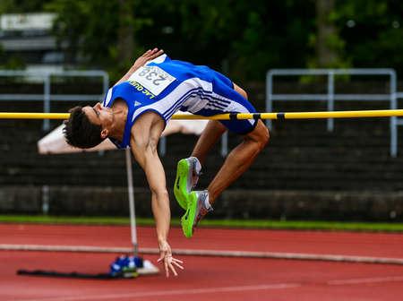 Regensburg, Germany - July 20, 2019: bavarian athletics championship high jump event Stockfoto - 146911753