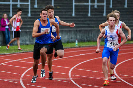 Regensburg, Germany - July 20, 2019: bavarian athletics championship 400 meter race event Stockfoto - 146911764