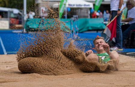 Regensburg, Germany - July 20, 2019: bavarian athletics championship long jump event