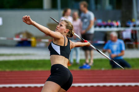 Regensburg, Germany - July 20, 2019: bavarian athletics championship javelin throw event