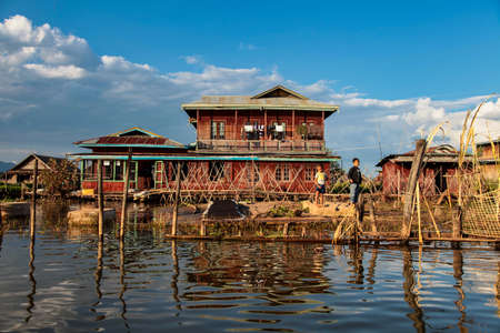 Inle Lake, Myanmar - Nov 08, 2019: Wooden floating houses on Inle Lake in Shan, Myanmar. Inle Lake is a freshwater lake located in the Nyaungshwe Township of Taunggyi District of Shan State.