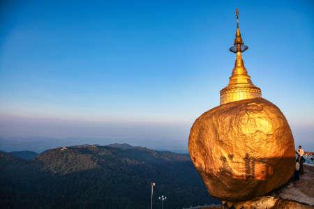 Kyaiktiyo, Myanmar - Nov 04, 2019: Kyaiktiyo Pagoda also known as Golden Rock is a well-known Buddhist pilgrimage site in Myanmar, Night view of Burmese pagoda, Golden rock, Balancing rock, Mon State