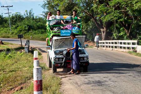 Kyaiktiyo, Myanmar - Nov 04, 2019: Burmese people of myanmar, former Burma on the road from Yangon to Kyaiktiyo, Asia