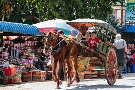 Pindaya, Myanmar - Nov 07, 2019: people of myanmar, former Burma on the road from Heho to Pindaya, Asia