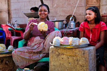 Mawlamyine, Myanmar - Nov 05, 2019: A market in the city center of Mawlamyine in Myanmar, former Burma in Asia