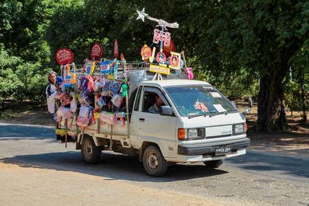 Bagan, Myanmar - Nov 16, 2019: Burmese people demonstrating for Aung San Suu Kyi in Bagan