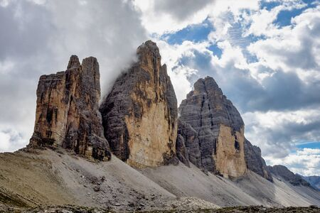 The Tre Cime di Lavaredo, the three peaks of Lavaredo, in the Sexten Dolomites of northeastern Italy.