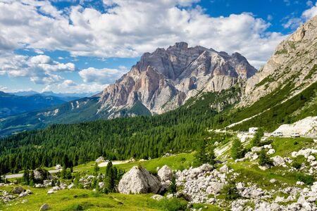 The Dolomites Mountains, Passo Valparola near Cortina d'Ampezzo, Belluno in Italy