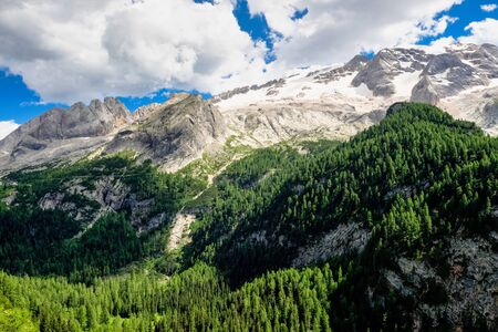 Alpine landscape in the Dolomites, Italy. Glacier Marmolada and Fedaia pass. Stockfoto