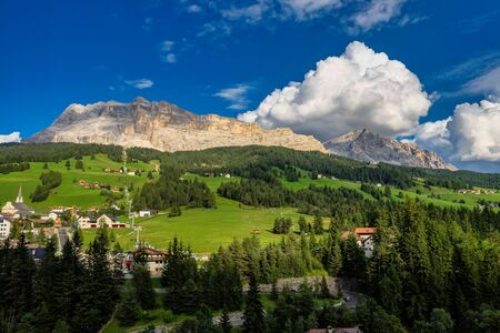 Western face of Sasso di Santa Croce in eastern Dolomites, overlooking Badia valley, the vertical wall of 900 meters , South Tyrol, Italy Stockfoto