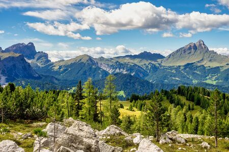 View from Western face of Sasso di Santa Croce in eastern Dolomites, overlooking Badia valley, the vertical wall of 900 meters , South Tyrol, Italy