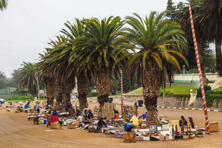 Swakopmund, Namibia - Jul 12, 2019: Local craft market in Swakopmund. Local hand made toys and other african goods very popular with tourists