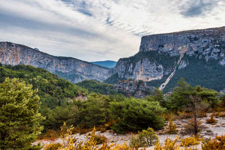 Verdon Gorge, Gorges du Verdon, amazing landscape of the famous canyon with winding turquoise-green colour river and high limestone rocks in French Alps, Provence, France