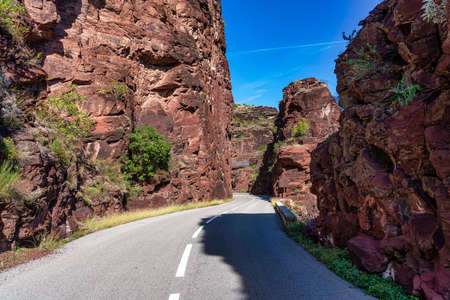 Gorges de Daluis or Chocolate canyon as it is called by locals because of the rocks color formed by Var river. Provence-Alpes-Cote d'Azur region of France.