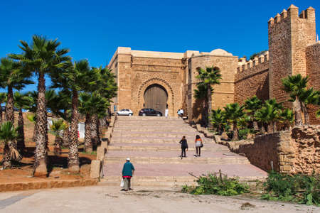 Rabat, Morocco - Oct 13, 2019: Kasbah of the Udayas also spelled Oudaias or Oudayas - the south-west part of fortified wall with the Almohad gate Bab Oudaia in Rabat