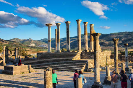 Volubilis, Morocco - Oct 14, 2019: Ruins of the roman basilica of Volubilis, a UNESCO world heritage site near Meknes and Fez, Morocco Redactioneel