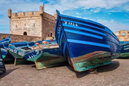 Essaouira, Morocco - Oct 25, 2019: Lots of blue fishing boats in the port of Essaouira, Morocco in Africa Redactioneel