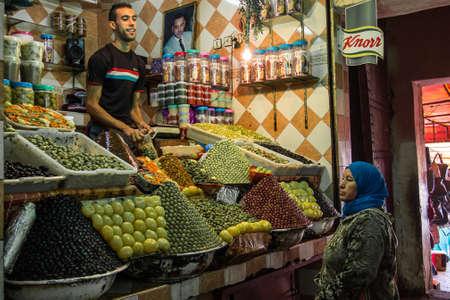 Meknes, Morocco - Oct 16, 2019: Traditional market in Meknes, Morocco in Africa.