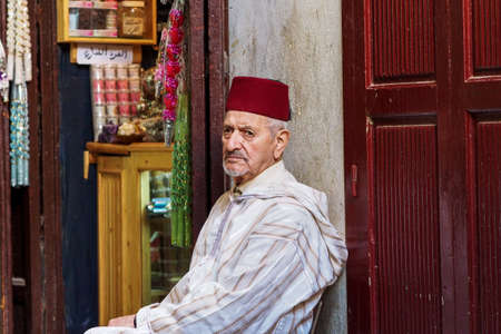 Fes, Morocco - Oct 15, 2019: Typical street market in the old medina of Fes, Morocco in Africa