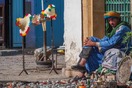Chefchaouen, Morocco - Oct 14, 2019: Street life in the Blue city of Chefchaouen or Chaouen, a city in northwest Morocco. It is noted for its buildings in shades of blue