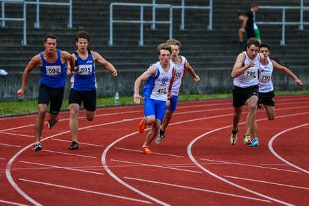 Regensburg, Germany - July 20, 2019: bavarian athletics championship 4x400 relay race event Editorial