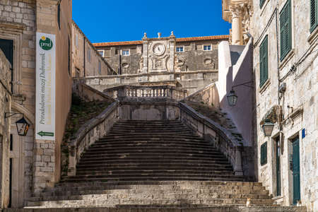 Jesuits staircase, the grand staircase that leads from Gundulic Square to the square in front of Collegium Ragusinum and St. Ignatius Church in Dubrovnik, Croatia. Walk of shame staircase.