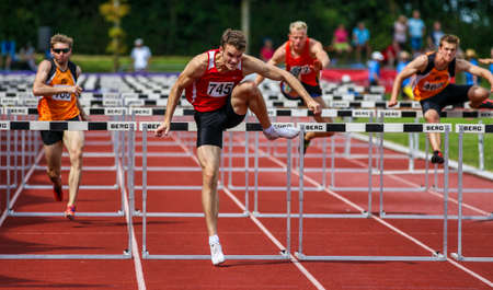 Regensburg, Germany - July 20, 2019: bavarian athletics championship hurdle race event