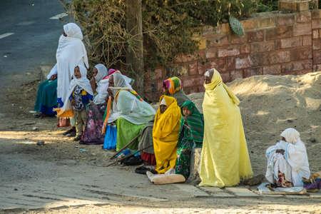 Axum, Ethiopia - Feb 10, 2020: Mass at the Ethiopian Orthodox Church in Aksum Ethiopia, Africa Editoriali
