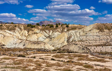 The Badlands of Abanilla and Mahoya near Murcia in Spain. An area where a lunar landscape has been formed by the erosive force of water over the millennia. 版權商用圖片