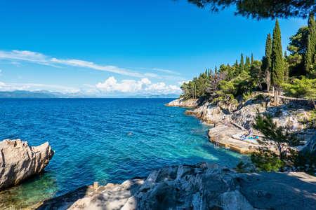 Trpanj, Croatia - Jun 14, 2020: picturesque Adriatic coast in Dalmatia region. Trpanj town is a picturesque resort town on the Peljesac Peninsula